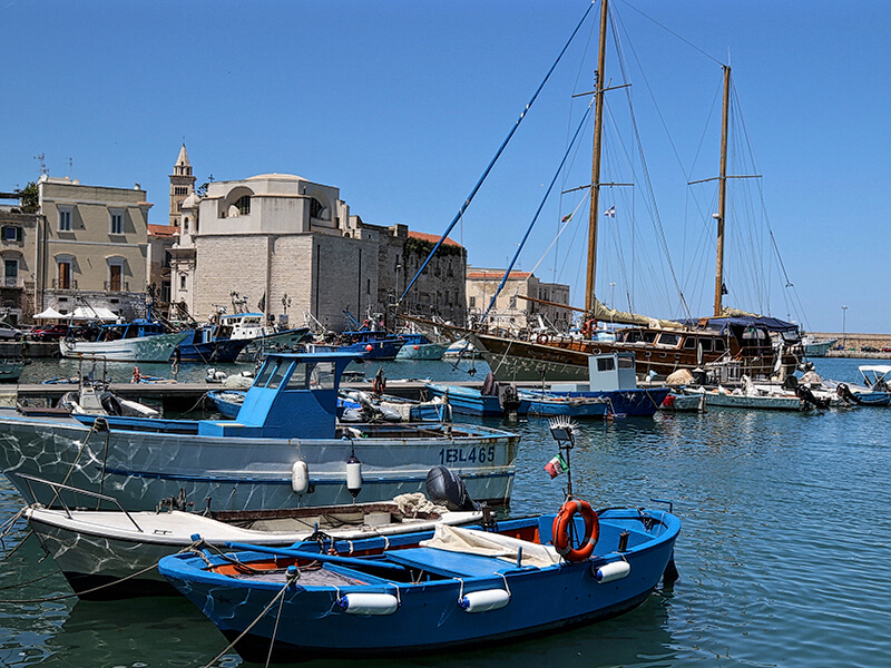 fishing boats in harbour Puglia Italy Carol Ketelson Delectable Destinations Culinary Tours