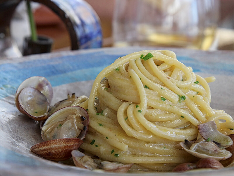 spaghetti vongole at Marina Grande Restaurant Amalfi Italy Carol Ketelson Delectable Destinations Culinary Tours