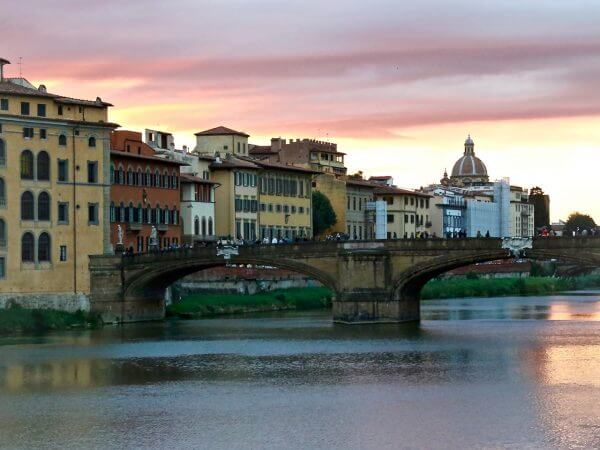sunset over the Arno River Florence Italy Carol Ketelson Delectable Destinations Culinary Tours
