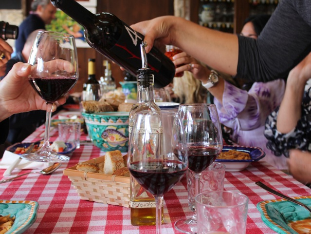 wine at lunch la vita bella Amalfi Coast DelectableDestinations Carol Ketelson