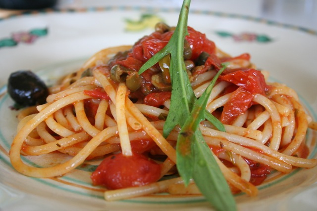 plate of spaghetti of the farmer Mamma Agata Amalfi Coast DelectableDestinations Carol Ketelson