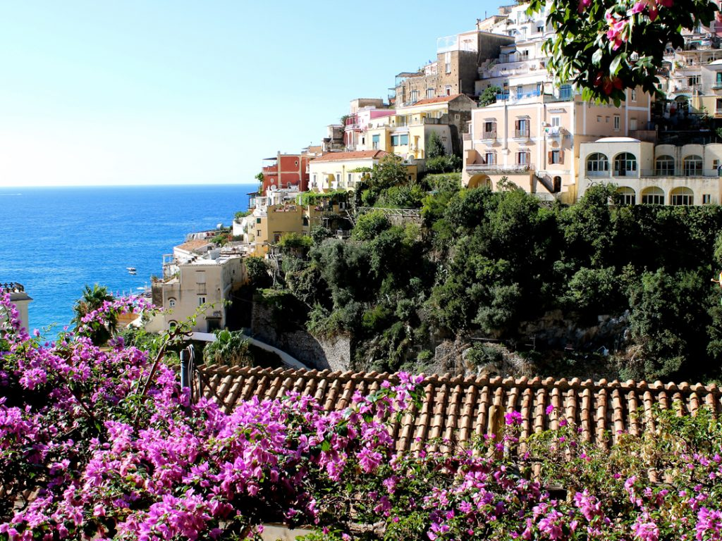 spring buganvilias Positano Amalfi Coast Italy Carol Ketelson Delectable Destinations Culinary Tours
