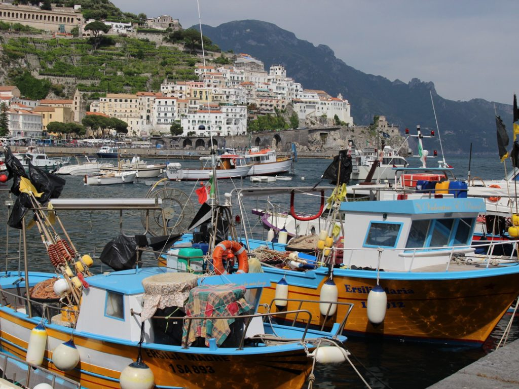 fishing boats Amalfi harbour Italy Carol Ketelson Delectable Destinations Culinary Tours