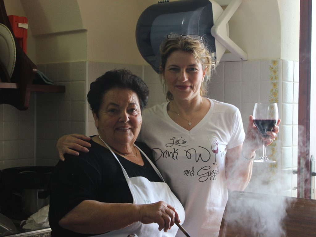 Carol with Mamma Agata at Mamma Agata Cooking School on the Amalfi Coast Carol Ketelson Delectable Destinations Culinary Tours