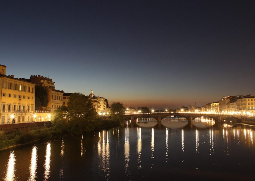Arno River at night Florence Italy Carol Ketelson Delectable Destinations Culinary Tours