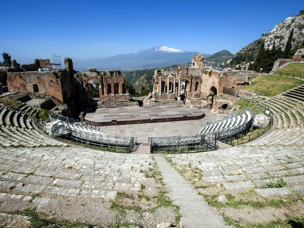 anciant greek theater Taormina Mount Etna in background Delectable Destinations Culinary Tour of Ireland