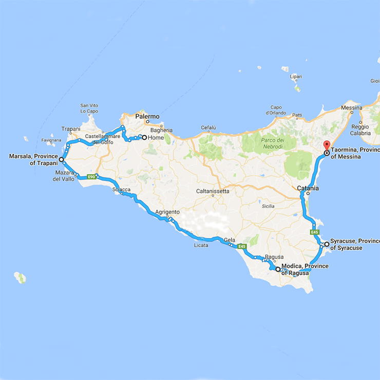 Map of Sicily Delectable Destinations and Amalfi Life Culinary Tour