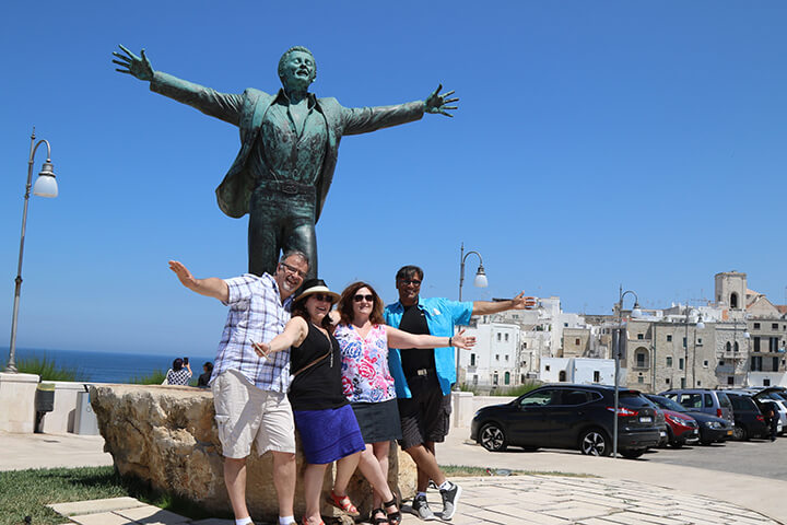 Statue of Domenico Modugno in Polignano a Mare, Puglia - Singer of Volare - Capturing 2017 Carol Ketelson Delectable Destinations