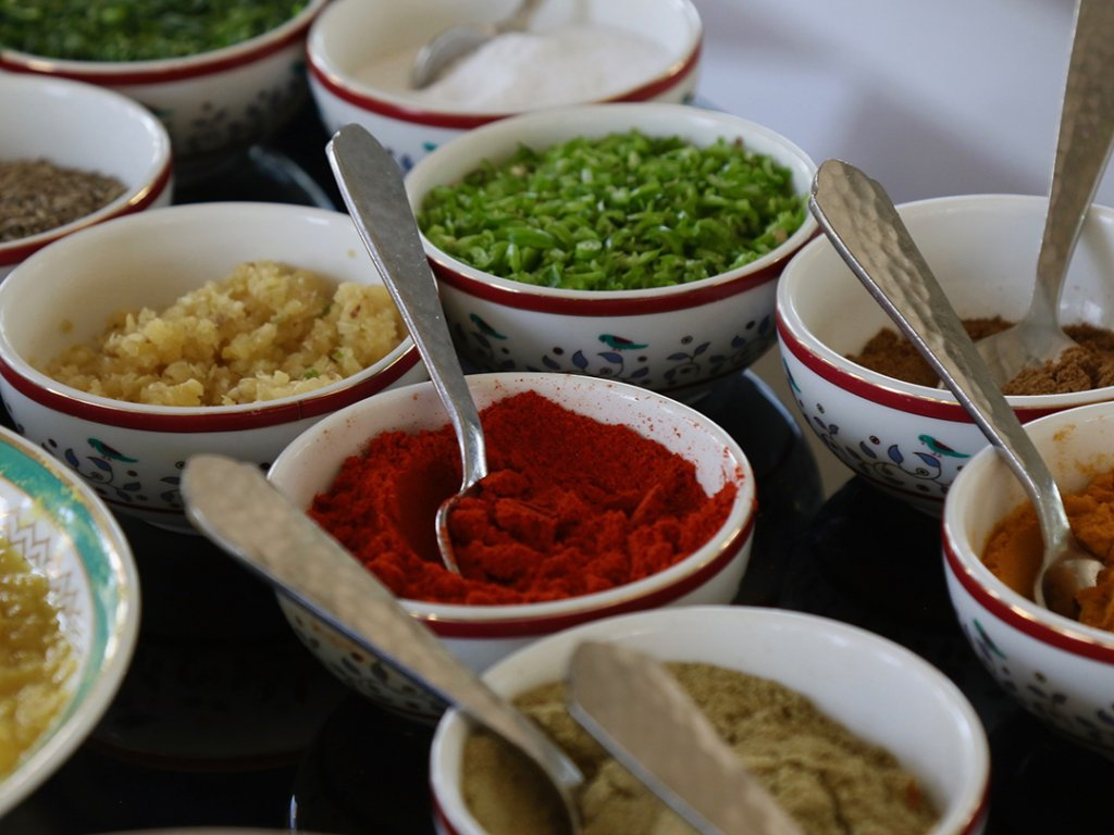 Various Indian spices at cooking class in Delhi, India - Carol Ketelson Delectable Destinations Culinary Tours