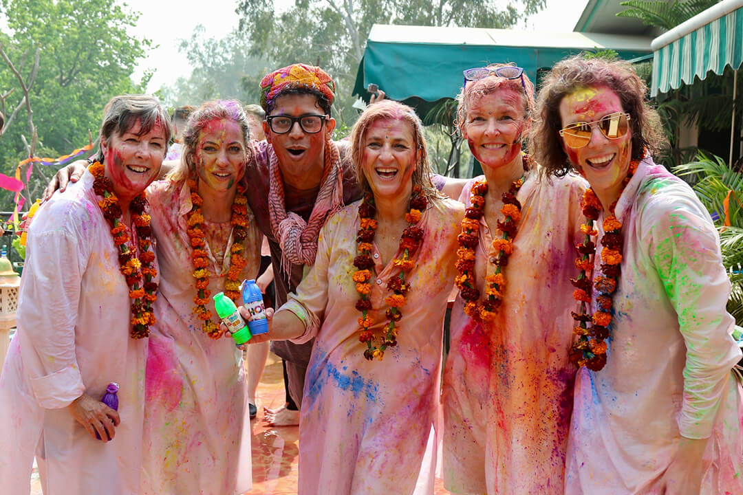 Delectable Destinations Guests enjoying the Festival of Holi, Carol Ketelson, Delectable Destinations